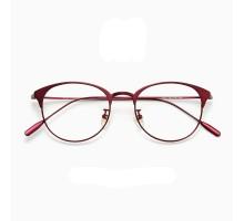 チタンフレーム メガネ ブランド軽い伊達メガネ女性おしゃれすっぴんエレガントめがね丸い眼鏡ラウンド型細いダテメガネ男子女子メンズ人気メタルめがね赤色レッド