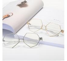 芸能人スタイルメガネ 有名人八角形めがね多角形ファッションメタル伊達メガネ度付き度なし個性的鼻パッド真珠鼻あてゴールドかわいい銀色