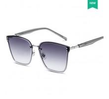 おしゃれリムレス メガネ ウェリントン型グラデーション色サングラス高級女子UV400紫外線カットめがね芸能人大きいサングラス縁なしレトロ眼鏡ブラウン色
