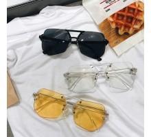 ツーブリッジ メガネ おしゃれ有名人個性的伊達眼鏡めがねカラーレンズ透明クリア縁無しリムレスかっこいいダテメガネ大きいフレーム度なし度入り男女イエローサングラス