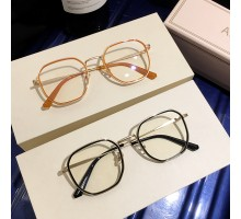 インスタ映え眼鏡クラシック オレンジ色フレーム伊達メガネ女子有名人ブルーライトカット度なしレンズ度付きすっぴん隠し男子ゴールド レトロめがね異素材組み合わせおしゃれメガネ
