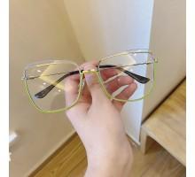 韓国ファッション メガネ アンダーリム個性的メガネ大きいフレーム丸い顔度なし度付きレンズ ストリート系バイカラー緑 金 銀メタルフレームめがね