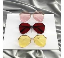 2019トレンド流行りサングラス個性的ハーフリム薄いカラーレンズめがねナイロール大きいサングラス黄色ピンクお洒落金属フレームUVカット女性メガネ有名人