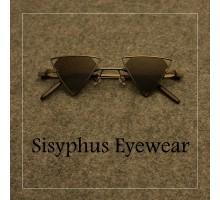 レトロ雰囲気演出サングラス三角形メタルフレーム個性的サングラスおしゃれ流行メンズ正三角形かっこいい眼鏡クール女子紫外線カットめがねストリートファッション茶色青ピンク