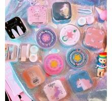 キュートかわいいキャラクターコンタクトケースins乙女カードキャプターさくらソフトコンタクトレンズ女っぽいインスタ映えユニコーン一角獣ピンク色コンタクトケース