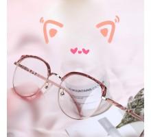 猫耳カワイイ眼鏡メガネフレーム度付きレンズ有名人サーモント メガネねこみみ小顔効果伊達メガネ丸いフレーム個性的ピンク色韓国人気男女レディース クラシックめがね