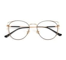 軽いフレーム金色ゴールドめがね金縁女性フルリム眼鏡度入りレンズ伊達メガネ丸い眼鏡猫耳キャットイア人気レディース金属メタルダテメガネ有名人個性的バイカラー