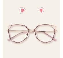インスタ映え芸能人メガネ流行女子クラシック伊達メガネ猫耳超軽量度なしねこみみデザインかわいい茶色系個性的セルフレーム ダテメガネ紫ワインレッド度付きファッションネコミミめがね