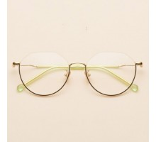 下縁メガネ可愛い個性的度付きレンズ アンダーリム眼鏡丸いフレーム女性韓国ファッションめがねクラシック ゴールド色スッピン隠し有名人メタル伊達メガネ度なしおしゃれ黒い