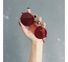 女優芸能人サングラス キムカーダシアン女性丸いフレームめがね丸型サングラス キャンディーカラー赤いレッド眼鏡メンズ男性個性的赤色レンズ ティアドロップ メタル ツーブリッジ