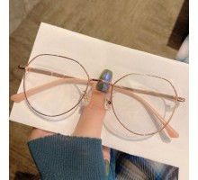 パソコンメガネ高級ブルーライトカットレンズPC眼鏡度付き伊達メガネ女性大きいフレーム男性度なしおしゃれメタルフレーム可愛いローズゴールド色黒ぶちシルバー軽量めがね