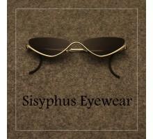 レトロなキャットアイ サングラス逆ナイロール眼鏡フォックス型小さいフレーム サングラス キャッツアイめがねアンダーリムおしゃれ紫外線カットメガネ下ふち メンズ レディースメタル