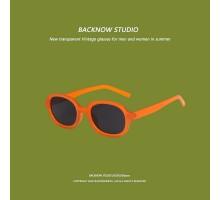 おしゃれサングラス流行男女偏光サングラス韓国ファッション オレンジ色メガネ紫外線カットたまご型インスタ映えUVカットレンズ丸い顔小顔効果クリアフレーム青色オーバル