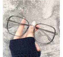 度付きレンズ伊達メガネ女性韓国オシャレ大きいフレームめがねダテメガネ軽量灰色眼鏡有名人セルフレーム男性度なしスクエア痩せ顔効果グレー ブラック ピンクおすすめメガネ