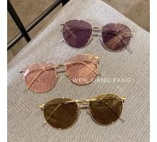 2021流行サングラスおしゃれレディース メンズ紫外線カットめがねインスタ映えラウンド型サングラス紫カラーレンズ有名人丸いフレームメタル眼鏡ピンク色黄色