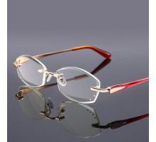 軽いフチなしリーディンググラス老眼鏡女性おしゃれブルーライトカットめがねシニアグラス リムレス知性エレガント縁なし+1.00+1.50+3.00パソコン用メガネ 老眼