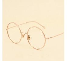 おしゃれエレガント多角形伊達メガネめがねフレーム個性的女子度付きレンズ丸い顔メタルダテメガネ小顔効果ローズゴールド度なし金属眼鏡シルバーかわいい上品メンズめがね