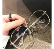 日本製おしゃれメガネ ダブルブリッジメガネ大きいスクエア型フレーム男女ストリート ハーフリムめがねレトロ金色銀黒ブルーライトカットレンズ