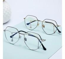 多角形韓国人気メガネおしゃれファッション眼鏡フレーム伊達メガネ女性有名人大きいめがねペンダント付きおすすめメタル金属メガネ度なし度付きレンズでかい顔クラシカル