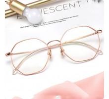 ブルーライトカットおしゃれメガネ多角形度付きレンズ伊達メガネ女子韓国ファッション ローズゴールド色メタルフレーム個性的上品有名人めがね度なし男子金属眼鏡ブラック シルバー