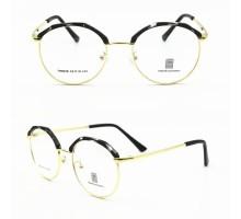 正規品レトロ高級サーモント メガネ ブランド個性的眼鏡丸いダテメガネ黒いめがねバイカラー金色フレーム男女ゴールド度付きメガネ度なしレンズ艶消し光沢