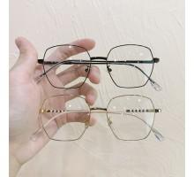 知的めがねエレガント伊達メガネ高級メタルフレーム小顔見え金属メガネおしゃれフルリム有名人カップル向け度なしすっぴん隠し度付き男女ゴールド眼鏡