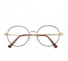 丸いラウンドフレーム度付き伊達メガネ眼鏡女子レディース丸眼鏡クラシック風レトロ大きい顔ダテメガネ韓国人気おしゃれゴールド細いフレーム綺麗軽いめがね度なしレンズ可愛い