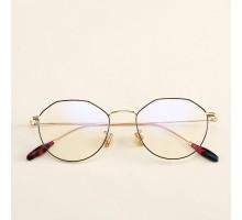 個性的多角形タイプ眼鏡ダテメガネフレーム韓国人気オルチャンおしゃれメガネ伊達メガネ度なし度付きレンズ女子クラシック風エレガント軽量めがね男性メタル金属メガネ金銀黒