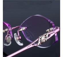 高級度付きレンズ対応近視メガネ女子向け縁無しふちなしリムレス高質チタン合金メガネ度なし伊達めがね豪華ダイヤモンド付き眼鏡