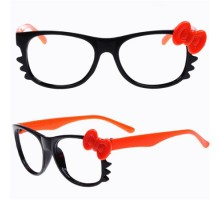 激安送料無料超萌えフレームメガネHello Kittyリボン付きネコ猫ねこデザイン伊達眼鏡フレームレンズなし