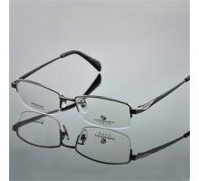 ビジネス風男子メガネフレーム 近視度入りレンズ対応眼鏡フレーム チタン製ハーフリムメガネ 度なしシンプルおしゃれ