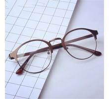 2017トレンド韓国クラシック風ハーフリムメガネ女子個性 古典風金属メタル文系森ガール眼鏡フレーム度入りレンズ対応ダテメガネ