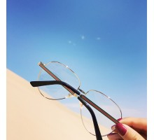 [送料無料]Instagram有名人モデル愛用メガネ韓国大きいフレーム痩せ顔超軽量コーデ用女子向け金属メタル伊達メガネ人気眼鏡度いりレンズ対応