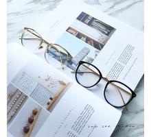 韓国お洒落ファッションブランド13C有名人モデル愛用コーデ用アラレ金属度なしレンズ伊達メガネ眼鏡フレーム近視対応度いり