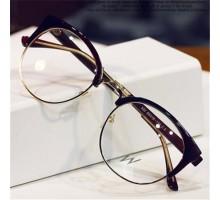 おしゃれクラシック韓流男女度なし伊達メガネ ハーフリム金属メタル大きいフレーム眼鏡度付きレンズ対応ダテメガネ