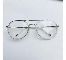 バンテージ古典風有名人透明クリアフレーム眼鏡フレーム金属メタル個性丸顔原宿メガネ度なしレンズ