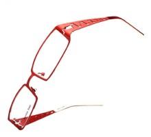 赤色メタルフレーム眼鏡フルリムデザイン スクエア型チタン素材太いフレーム度ありレンズ対応女子おしゃれ浮き彫りメガネ