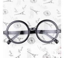 ラウンドおしゃれアラレちゃん 大きい丸いダテメガネフレーム装飾用ブラックめがね男女レンズあり度なし伊達眼鏡