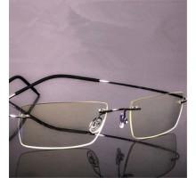 チタン製超軽い縁無しフレーム型ブルーライトカット疲労対策メガネパソコン眼鏡PCゲーム度ありレンズ対応ビジネス風男子向け