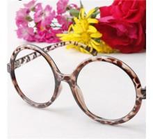 クラシック黒・豹紋女子ダテメガネ大きいラウンドめがねフレーム顔装飾用レンズなし品質伊達眼鏡フレーム